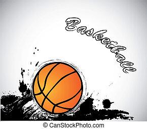 バックグラウンド。, ベクトル, グランジ, バスケットボール