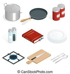 バックグラウンド。, ベクトル, 専門家, 白, セット, 道具, 台所用品, 等大
