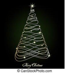 バックグラウンド。, ベクトル, 木, 緑, クリスマス