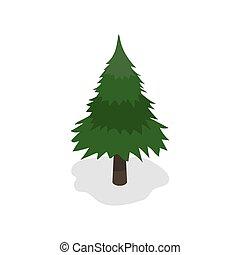 バックグラウンド。, ベクトル, 木, illustration., クリスマス, 白, 緑