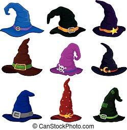 バックグラウンド。, ベクトル, colors., 帽子, 白, セット, 別, 魔法使い, イラスト