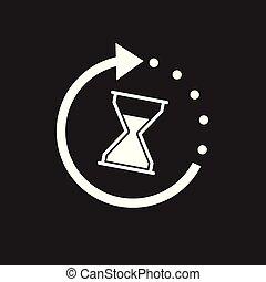 バックグラウンド。, ベクトル, icon., 黒, 時間, 砂時計, 平ら, イラスト