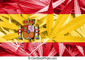 バックグラウンド。, マリファナの薬剤, legalization, 旗, policy., インド大麻, スペイン