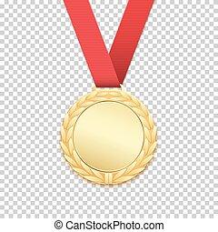 バックグラウンド。, メダル, 隔離された, 金, 透明