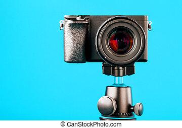 バックグラウンド。, レコード, 三脚, カメラ, blog, report., 青, ∥あるいは∥, 写真, あなたの, ビデオ