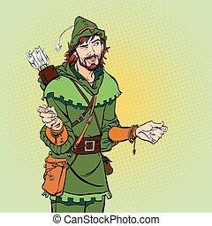 バックグラウンド。, ロビン, 不思議そうである, 中世, legends., 笑い, halftone, 英雄, ...
