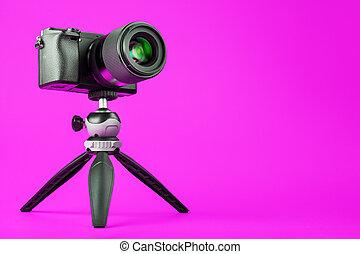 バックグラウンド。, 三脚, ∥あるいは∥, report., blog, 専門家, レコード, ピンク, ビデオ, 写真, あなたの, カメラ