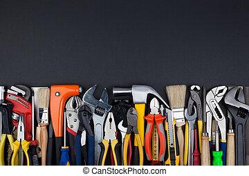 バックグラウンド。, 仕事, 道具, 黒
