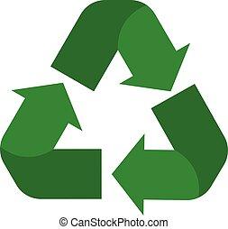 バックグラウンド。, 印。, シンボル。, 白, style., リサイクルしなさい, 再使用, 平ら, アイコン, 緑