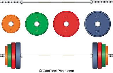 バックグラウンド。, 多色刷り, ベクトル, 白, バーベル