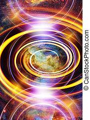 バックグラウンド。, 宇宙, 色, 星雲, 星, 抽象的, スペース, 円, ライト