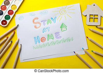 バックグラウンド。, 家, 子供, 黄色, 場所, 図画, 滞在, 概念