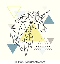 バックグラウンド。, 幾何学的, シルエット, 三角形, 一角獣
