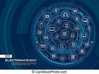 バックグラウンド。, 技術, 抽象的, システム, icons., 円, 白熱, 連結しなさい, デジタル, 線, 電子, インテグレイテド, 薄くなりなさい