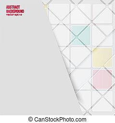バックグラウンド。, 抽象的, ベクトル, 正方形, 白