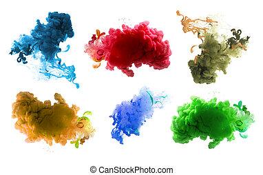 バックグラウンド。, 抽象的, 色, アクリル, インク, water.