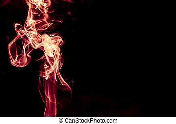 バックグラウンド。, 抽象的, 赤, 煙