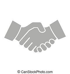 バックグラウンド。, 握手, ベクトル, 白, アイコン
