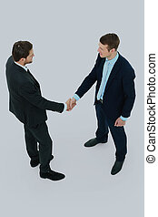 バックグラウンド。, 握手, 白, 隔離された