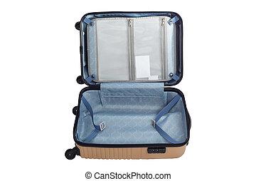 バックグラウンド。, 旅行, 手荷物, 隔離された, 袋, 白, 開いた