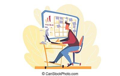 バックグラウンド。, 日, 仕事, 人, 概念, 黄色, コンピュータ, 葉, ビジネス