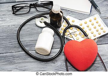 バックグラウンド。, 木製である, 心, 健康, 聴診器, うそ