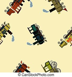 バックグラウンド。, 機関車, 漫画, スタイル, 蒸気, パターン, seamless, レトロ, ベージュ