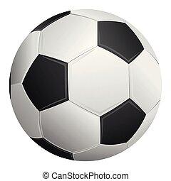 バックグラウンド。, 白いボール, 隔離された, サッカー