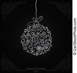 バックグラウンド。, 白いボール, 黒, クリスマス