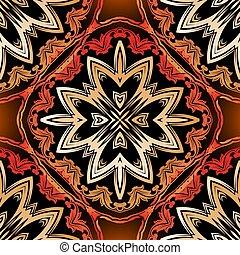 バックグラウンド。, 白熱, pattern., 種族, seamless, スタイル, 型, 装飾用, 民族, 花, ベクトル, 美しい, 繰り返し, 抽象的, ornaments., design., mandalas, mandalas., 華やか, バロック式, カラフルである, 現代