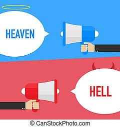 バックグラウンド。, 白, よい, ∥あるいは∥, 悪魔, シンボル。, 地獄, illustration., heaven., ベクトル, 天使, ひどく
