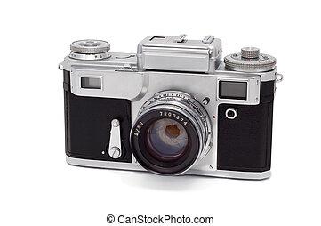 バックグラウンド。, 白, カメラ, 古い, 隔離された