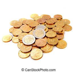 バックグラウンド。, 白, コイン, 金