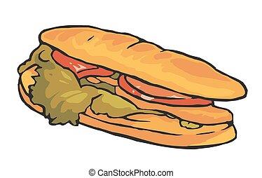 バックグラウンド。, 白, サンドイッチ, 隔離された