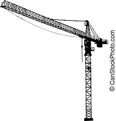 バックグラウンド。, 白, シルエット, crane.