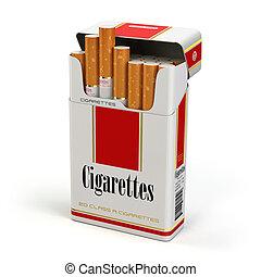 バックグラウンド。, 白, パック, 隔離された, タバコ