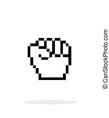 バックグラウンド。, 白, ピクセル, 握りこぶし, アイコン