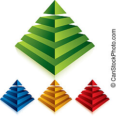 バックグラウンド。, 白, ピラミッド, 隔離された, アイコン