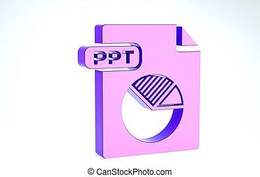 バックグラウンド。, 白, ファイル, ボタン, アイコン, presentation., 紫色, ppt, 3d, ダウンロード, document., イラスト, render, 隔離された