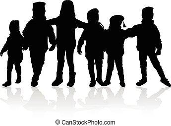 バックグラウンド。, 白, ベクトル, シルエット, 子供