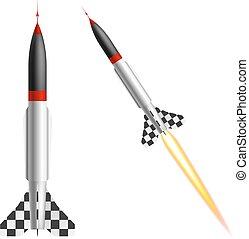 バックグラウンド。, 白, ベクトル, ロケット, イラスト