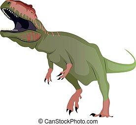 バックグラウンド。, 白, ベクトル, giganotosaurus, イラスト