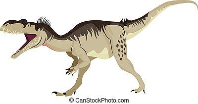 バックグラウンド。, 白, ベクトル, megalosaurus, イラスト
