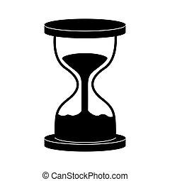 バックグラウンド。, 白, 時計, 隔離された, ベクトル, 砂時計, 黒砂, アイコン, シンボル。