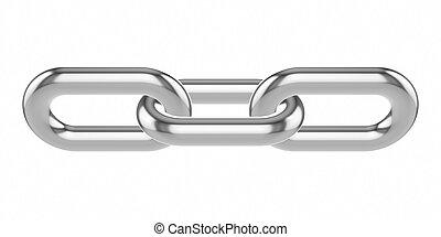 バックグラウンド。, 白, 金属, 隔離された, 鎖