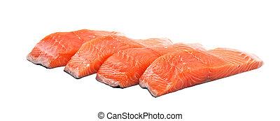 バックグラウンド。, 白, 鮭, 隔離された, に薄く切る