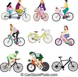 バックグラウンド。, 白, bicycles, 人々