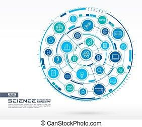 バックグラウンド。, 科学, 抽象的, システム, icons., 円, 白熱, 連結しなさい, デジタル, 線, 技術, インテグレイテド, 薄くなりなさい