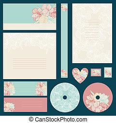 バックグラウンド。, 結婚式, セット, 花, 招待