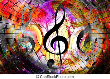 バックグラウンド。, 色, メモ, スペース, 抽象的, stars., 音楽, 音部記号, concept.